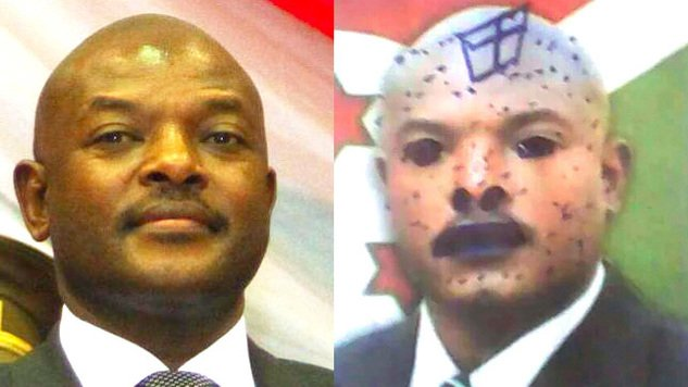 The girls are accused of defacing photographs of Nkurunziza in five textbooks