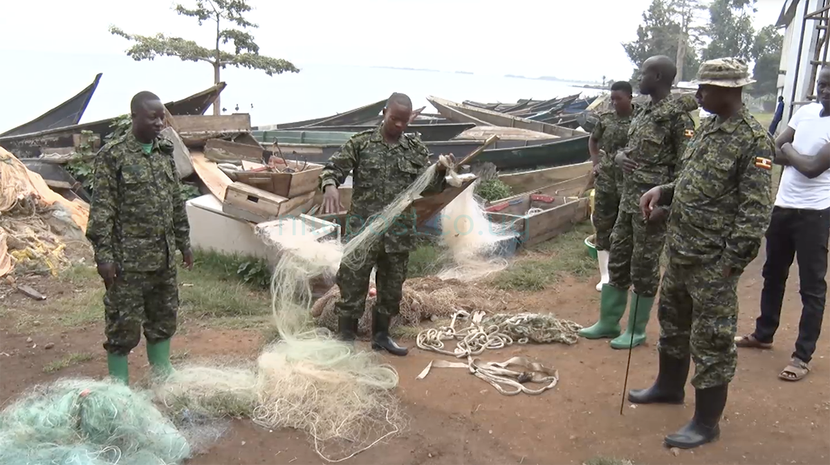 UPDF officials confisicate some of the fishing nets on Lake Victoria. (FILE PHOTO)