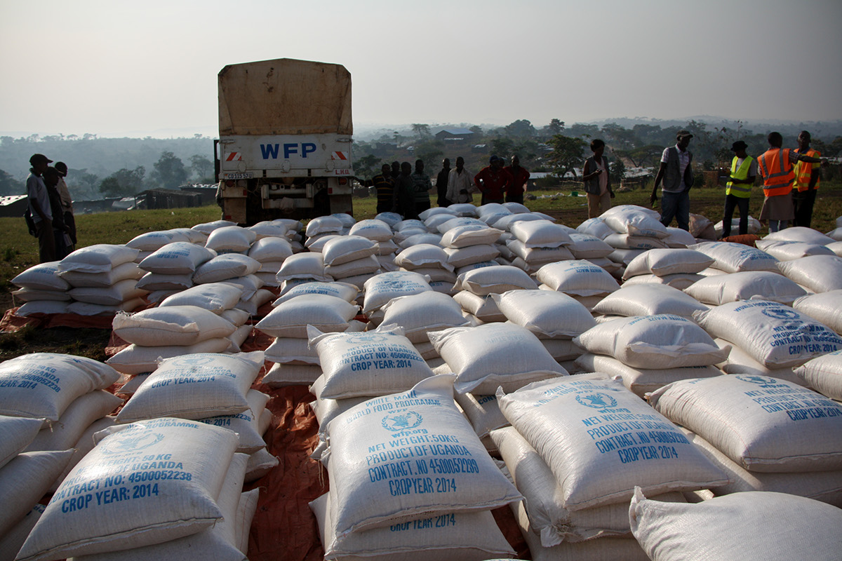 World Food Programme delivers food stuff to Rwamwanja Refugee Settlement recently.  (WFP PHOTO)