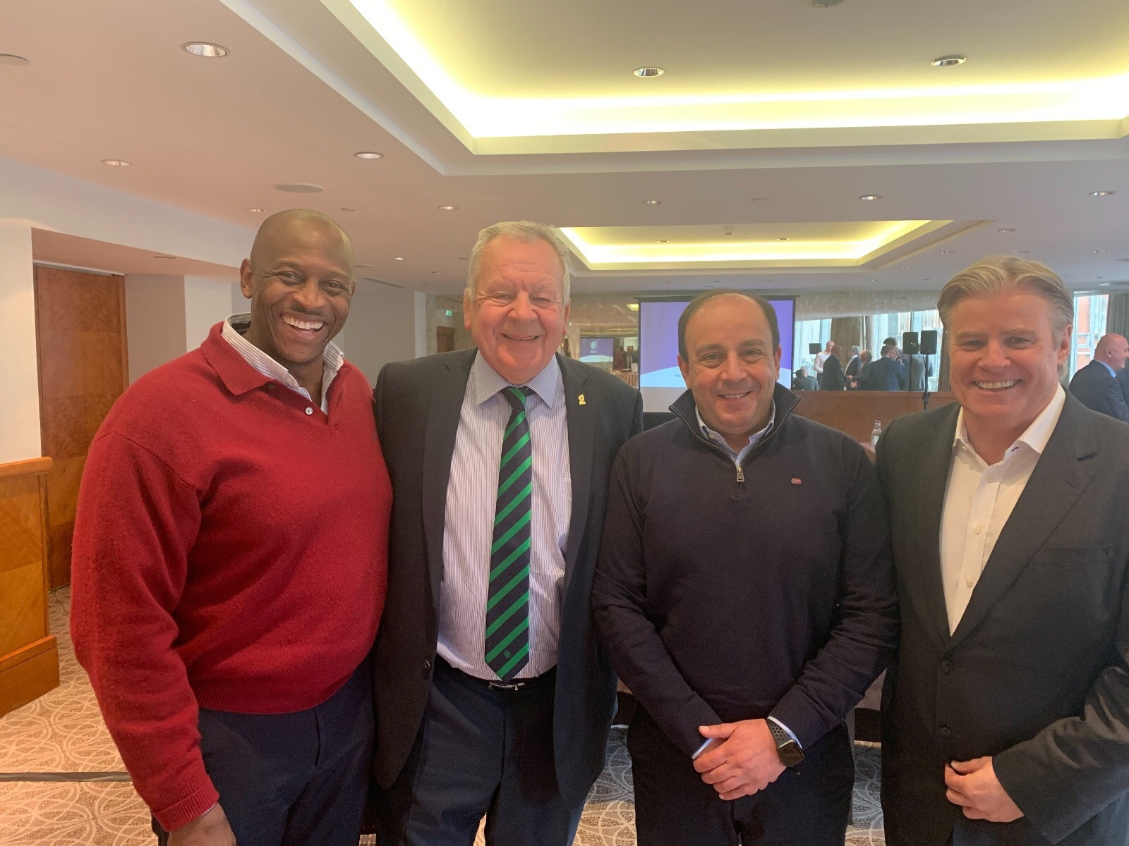 Mr. Herbert Mensah, President of the Ghana Rugby Union and member of the Executive Committee of Rugby Africa, World Rugby President Sir Bill Beaumont, Rugby Africa President Khaled Babbou, and World Rugby Director General Brett Gosper