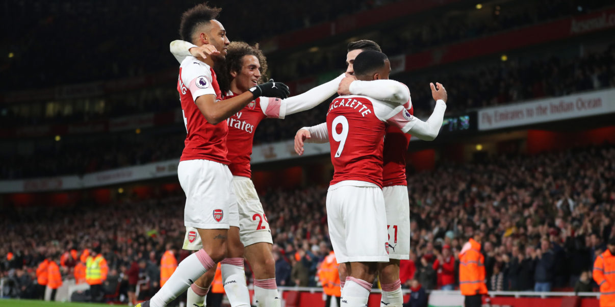 LONDON, ENGLAND - APRIL 01:  Alexandre Lacazette of Arsenal (9) celebrates after scoring his team's second goal with team mates during the Premier League match between Arsenal FC and Newcastle United at Emirates Stadium on April 01, 2019 in London, United Kingdom. (Photo by Catherine Ivill/Getty Images)