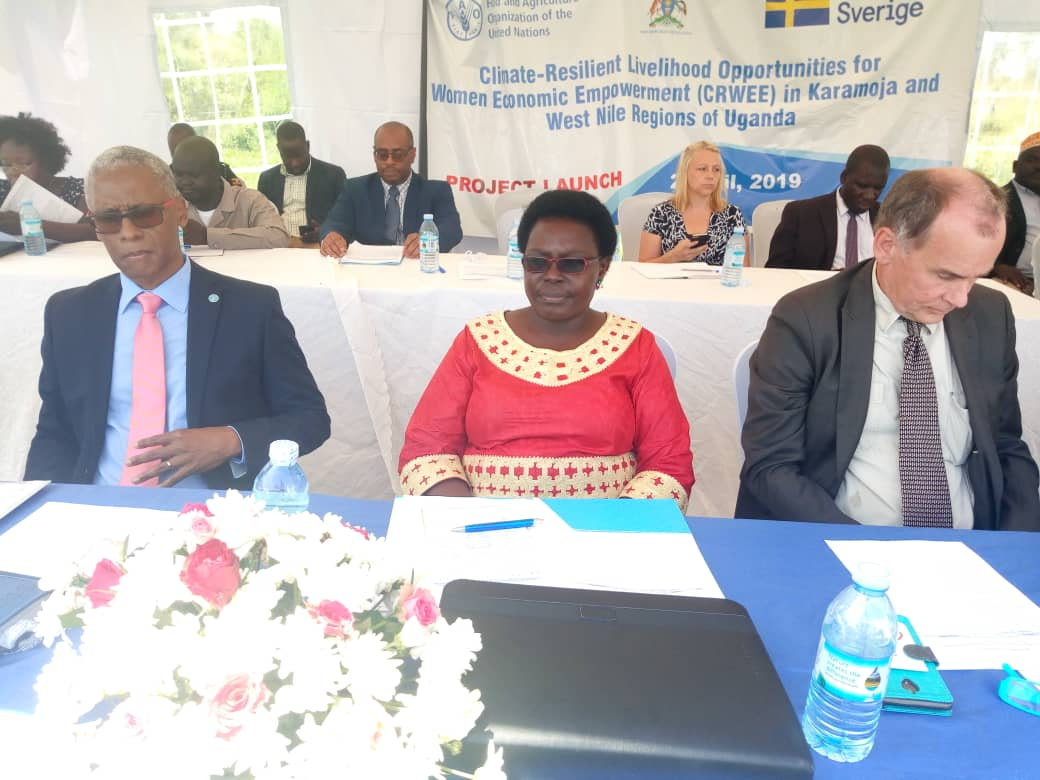 Left - Right:  FAO representative to Uganda Dr Antonio Querido, State Minister for Northern Uganda also Woman MP Zombo District Hon. Grace Kwiyucwiny, Head of Cooperation at Swedish Embassy  Mr. Ola Hällgren during the ongoing launch of mega project at Muni University in Arua on 2 April. PHOTO/JAVIRA SSEBWAMI)