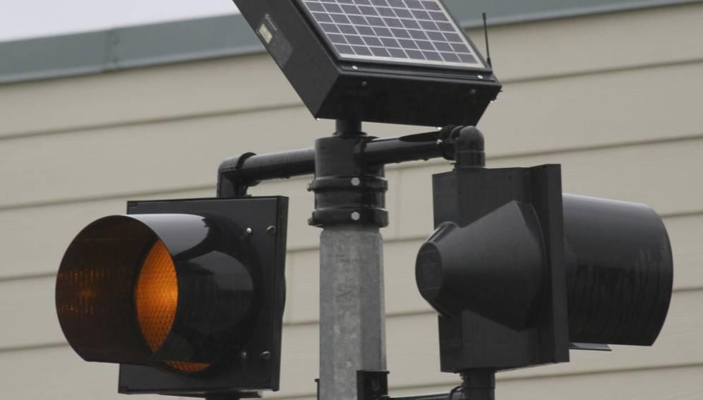 Solar-powered traffic lights
