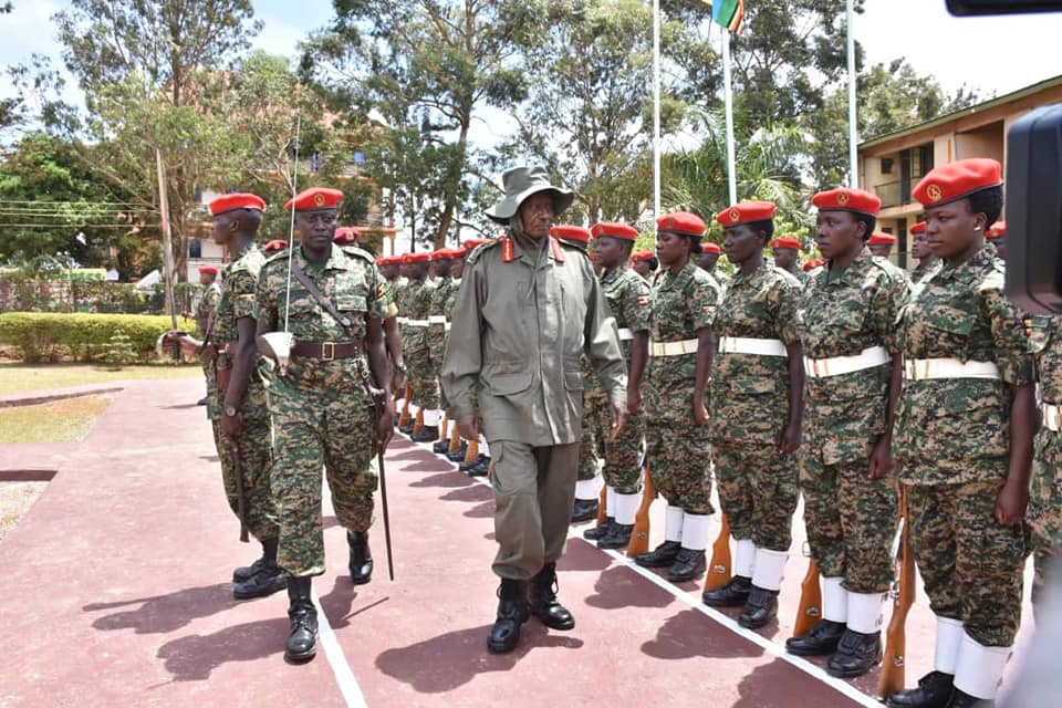 President Yoweri Museveni while touring Military Police Brigade at their Makindye-based headquarters in Makindye Division in Kampala on Thursday, April 11. (PHOTO/PPU)