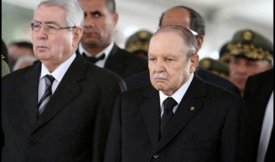Former Algerian President Abdelaziz Bouteflika and Algeria's upper house Speaker Abdelkader Bensalah