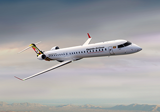 Uganda Airlines has a fleet of two CRJ900 jets