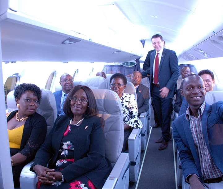 The official handover of the first two CRJ900 Bombardier Aircraft to the Minister for Works and Transport Monica Azuba Ntege Prepare to fly in the revamped Uganda Airlines. (PHOTO/COURTESY)