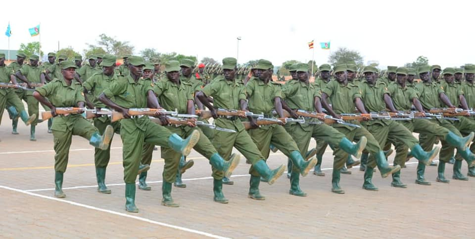 Fresh LDU recruits at a commissioning ceremony.  The opposition has decried their brutality. (PHOTO/File)