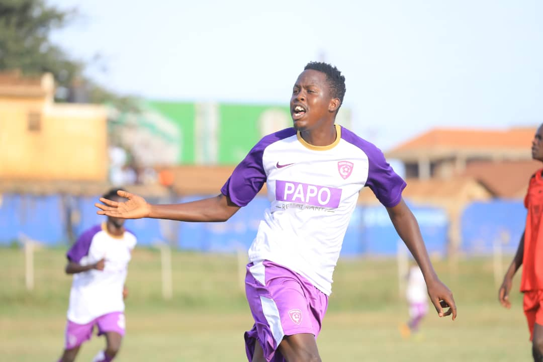 Kasule celebrates scoring the equalizer on Sunday. (Wakiso Photos)