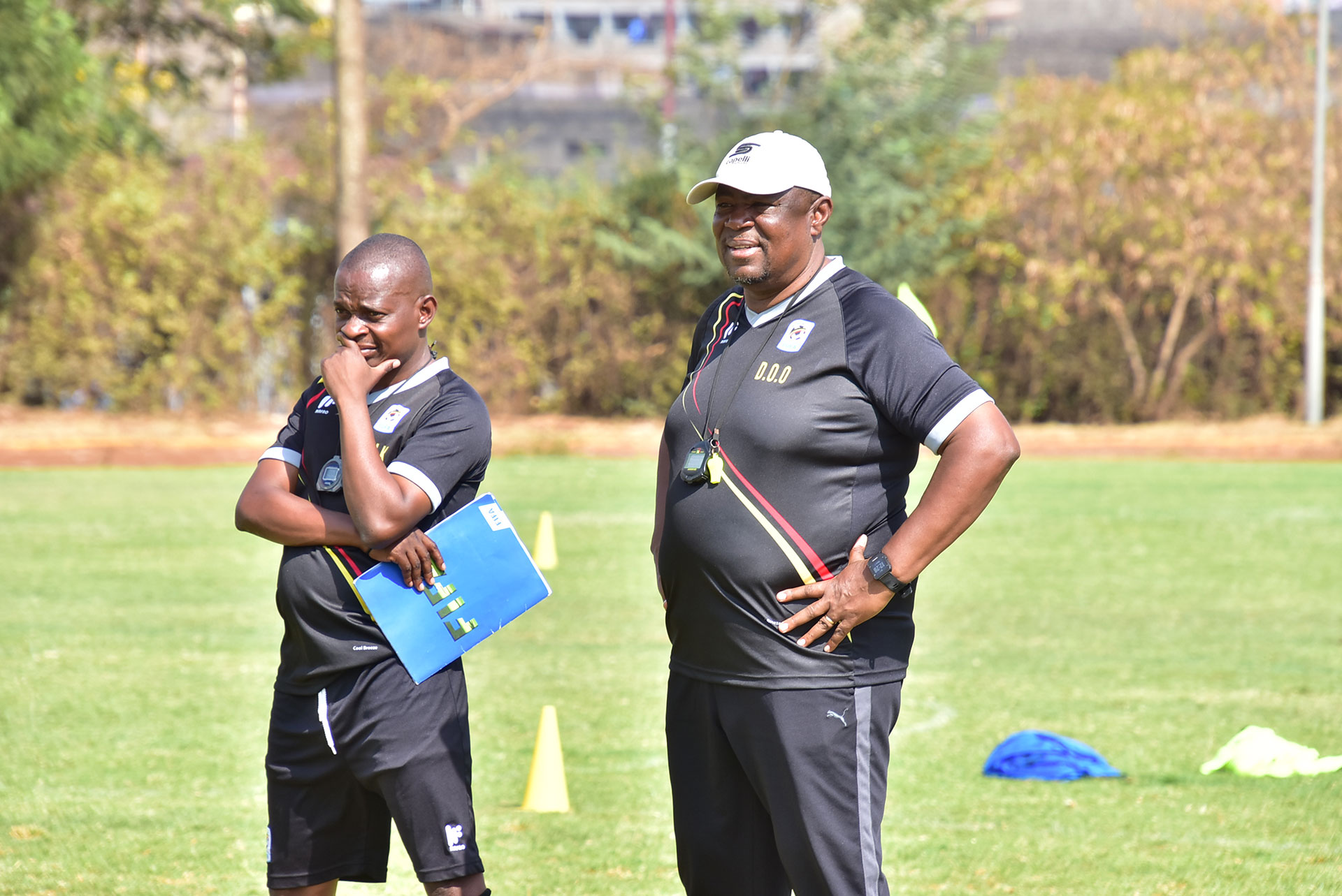 Magera (left) and Kwesi (right) during one of the training sessions in Kenya recently (FUFA Photos)