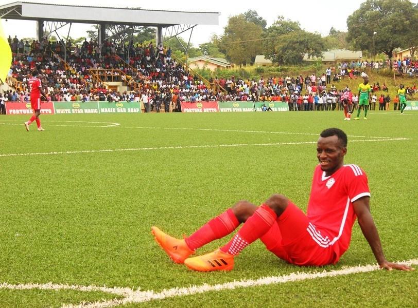 Kirinya-Jinja S.S defender Douglas Muganga looks on in disappointment