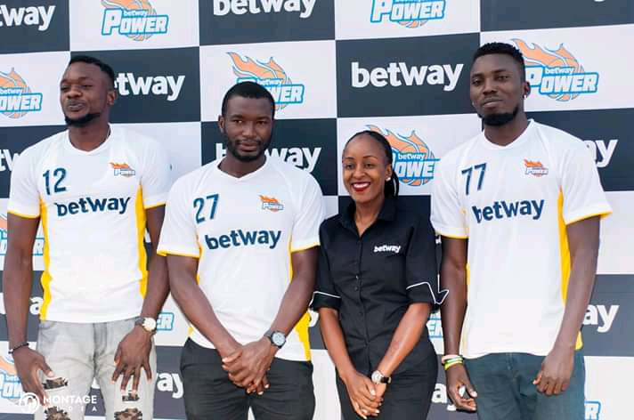 The new players pose for a photo with Betway Country Manager Adellah Agaba on Thursday (Betway Photos)