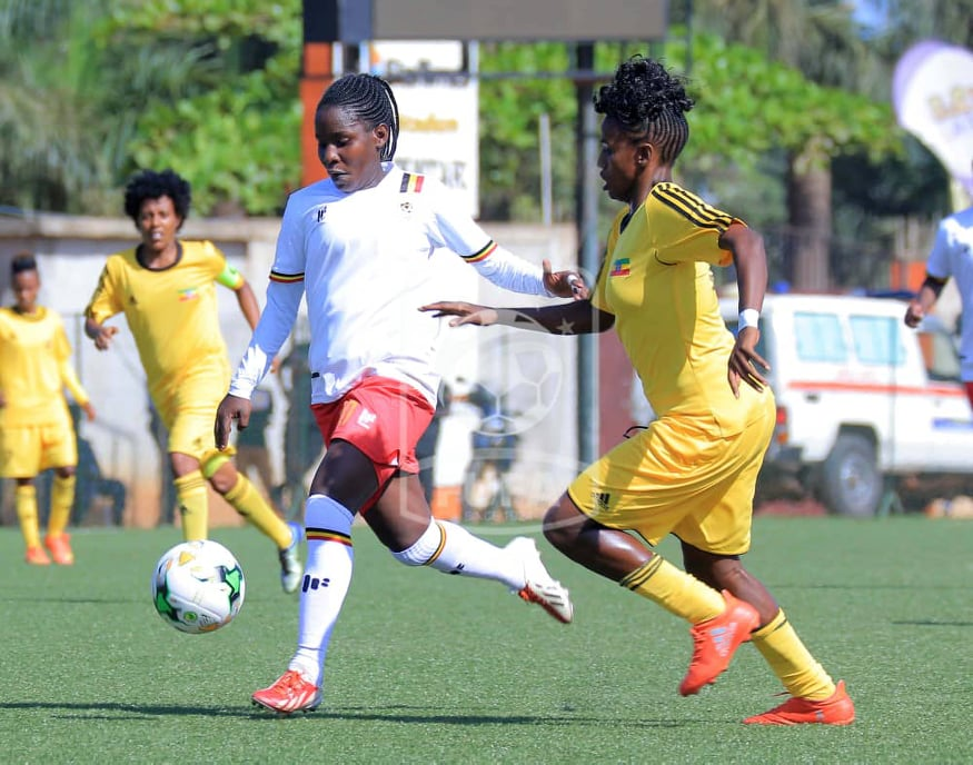 Hasifah Nassuna (right) in action against Ethiopia on Saturday (FUFA Photos)