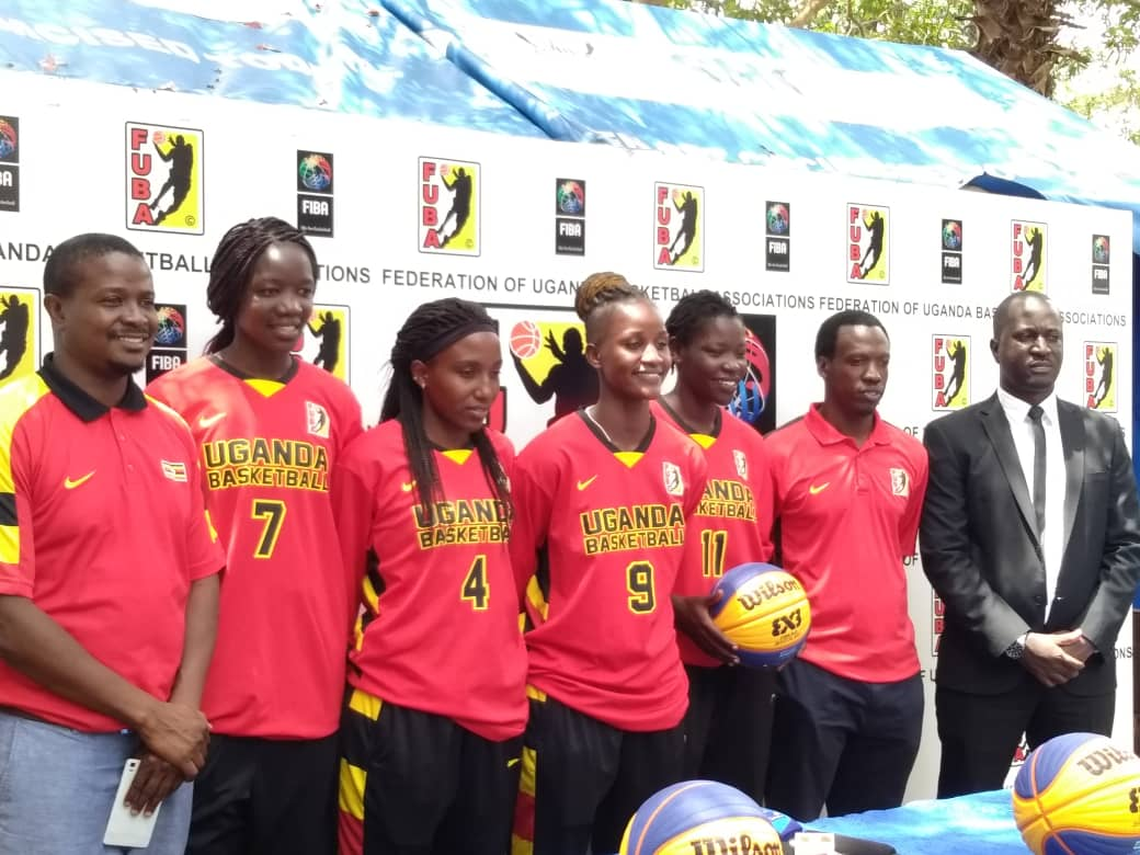 The Gazelles and some FUBA officials at Lugogo on Tuesday. (Photos by FUBA Media).