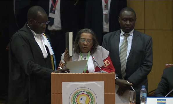Justice Sauda Mjasiri was sworn in to on February 1, 2019 an appointment the Uganda Law Society asserts does not deem fit (FILE PHOTO)