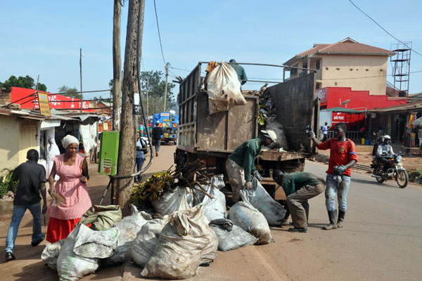 Homeklin company collects garbage dumped by the roadside in Rubaga Division.