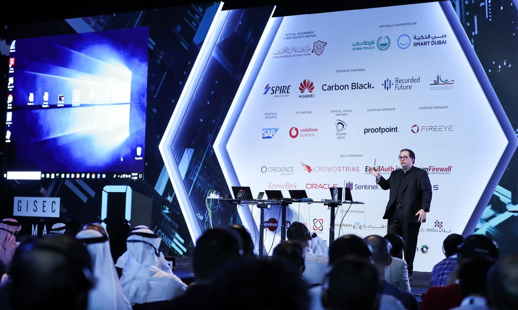 Mr. Kevin Mitnick, one of the world's most famous hackers from the US addressing the audience at the sidelines of the Gulf Information Security Expo and Conference. (COURTESY PHOTO)