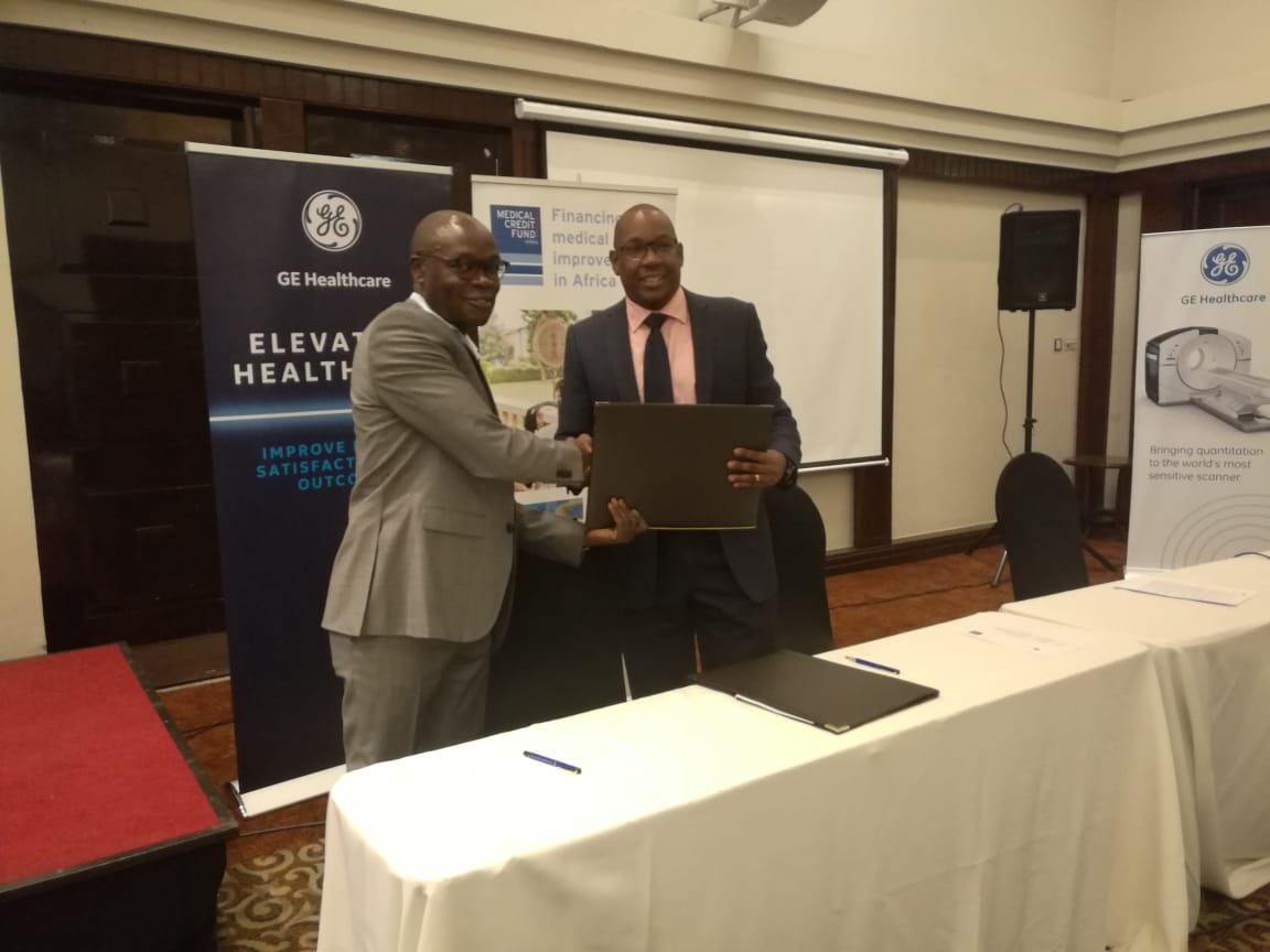 From left to right: Mr. Isaiah Okoth, Country Director Kenya, PharmAccess Foundation and Mr. Andrew Waititu, General Manager for GE Healthcare East Africa during the MCF/GE Healthcare partnership announcement. (PHOTO/AGENCY)