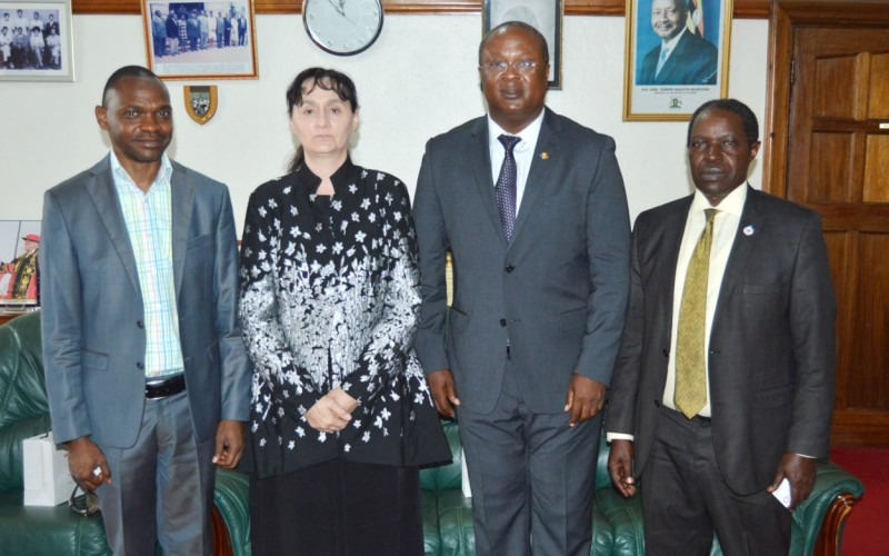 The Ambassador of Romania to Uganda, H.E. Julia Pataki (2nd Left) and the Romanian Honorary Consul, H.E. Murungi Godwin (2nd Right) with the DVCAA-Dr. Umar Kakumba (Left) and DVCFA-Prof. William Bazeyo (Right) after the courtesy call on 26th April 2019, Makerere University, Kampala Uganda. H.E. Pataki offered to broker collaborations between the Uganda Vice Chancellor's Forum to National Council of Rectors.