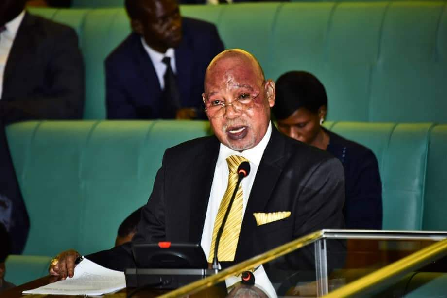 Minister for Internal Affairs, Gen Jejje Odong submitting in Parliament on Thursday.