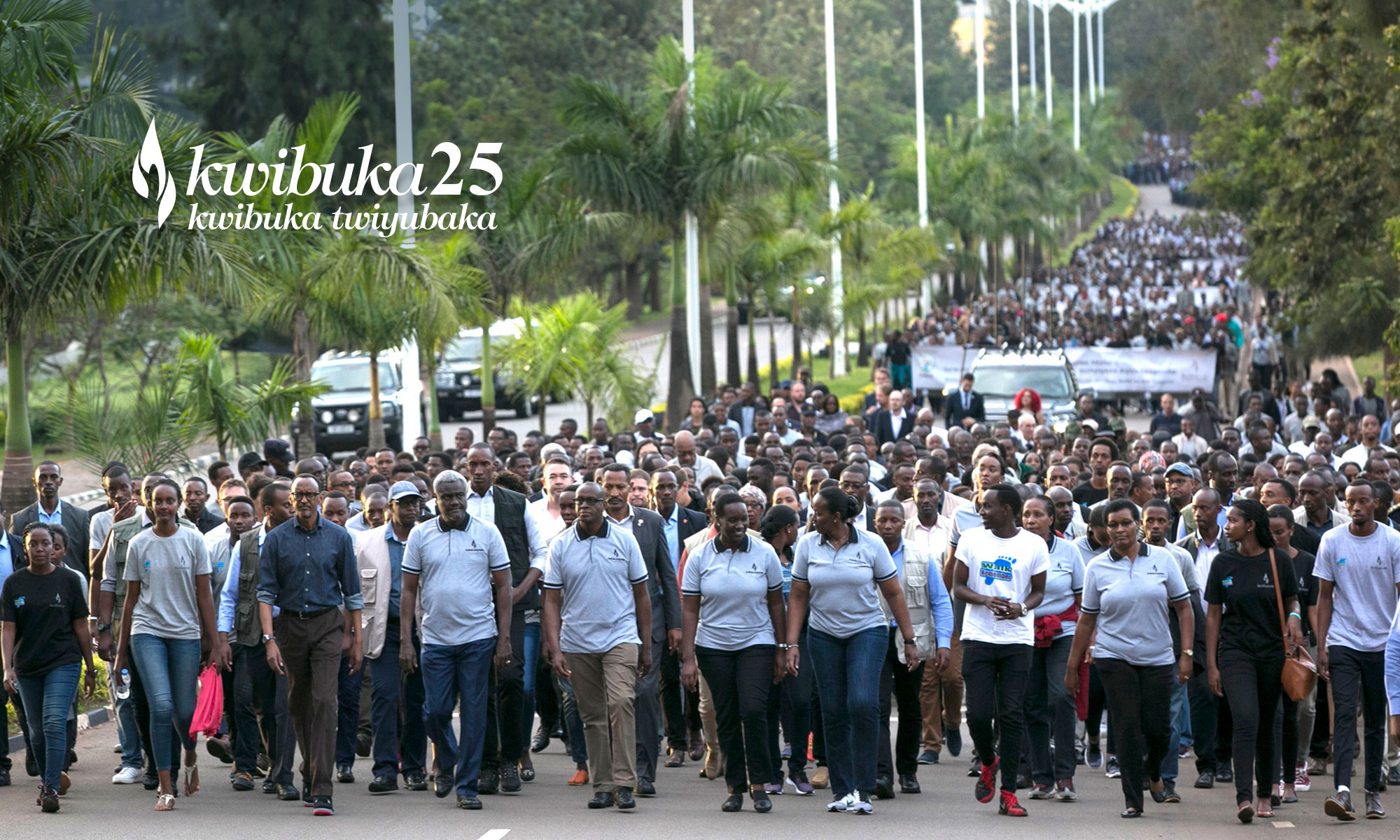 Rwanda President, Paul Kagame joins other leaders and youths as they take the Walk to Remember (FILE PHOTO)