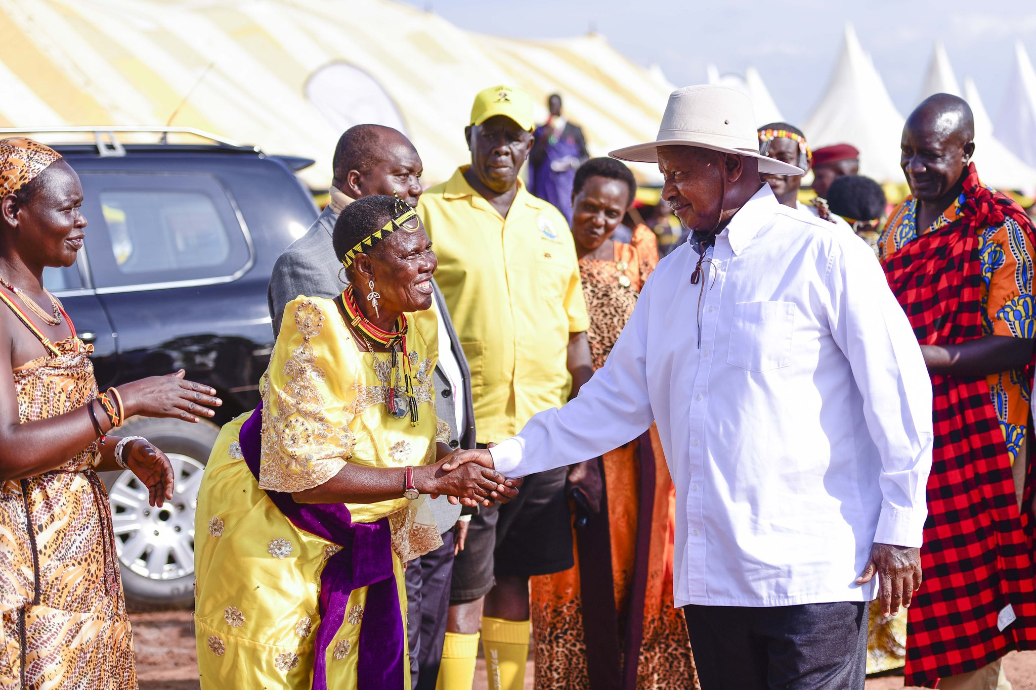 President Yoweri Museveni is welcomed at the Itesot cultural celebrations in Kumi district.