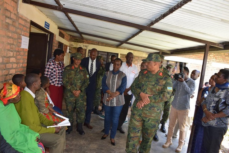 RDF Chief of Defence Staff (CDS) Gen Patrick Nyamvumba inspecting the services being provided by the army in Burera district, as part of a national program (PHOTO/COURTESY)