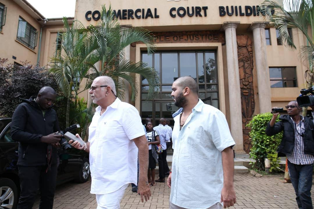 Sudhir and son Rajiv arrive at Court recently. . They were recently handed victory over city lawyers Sebalu & Lule Advocates. (PHOTO/PML Daily)