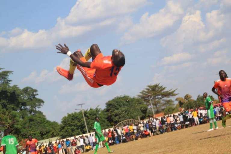 Acholi's Norman Ojik celebrates scoring on Sunday (Agency Photos)