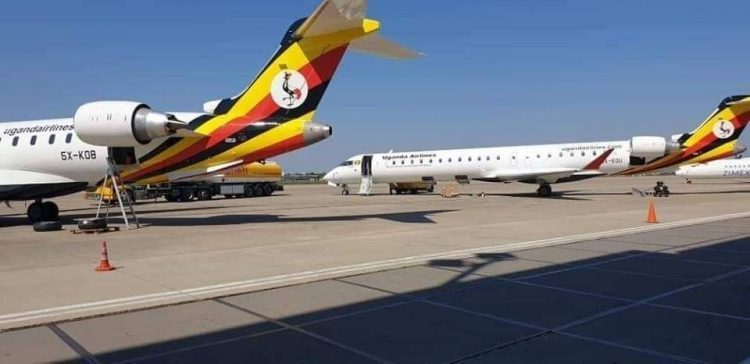 Uganda Airline's Bombardier CRJ900 aircrafts at the Old Entebbe Airport. Uganda Airlines is set to start operations in July 2019 after securing seven regional routes. (PHOTO/File)