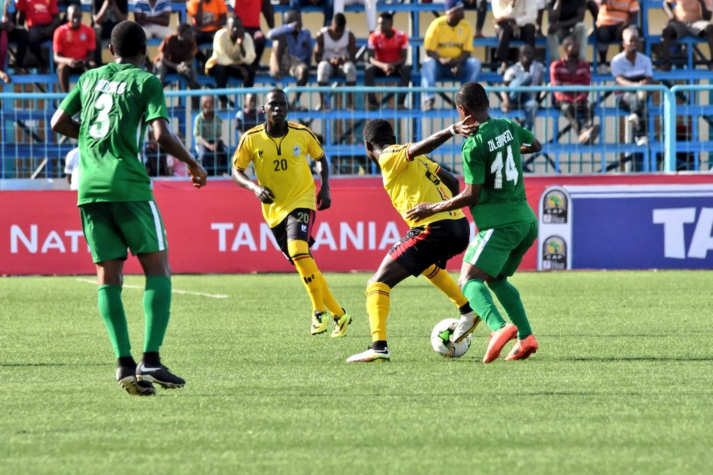 The Cubs (Yellow and Black) in action against Nigeria (Green) on Saturday. (FUFA Photos)