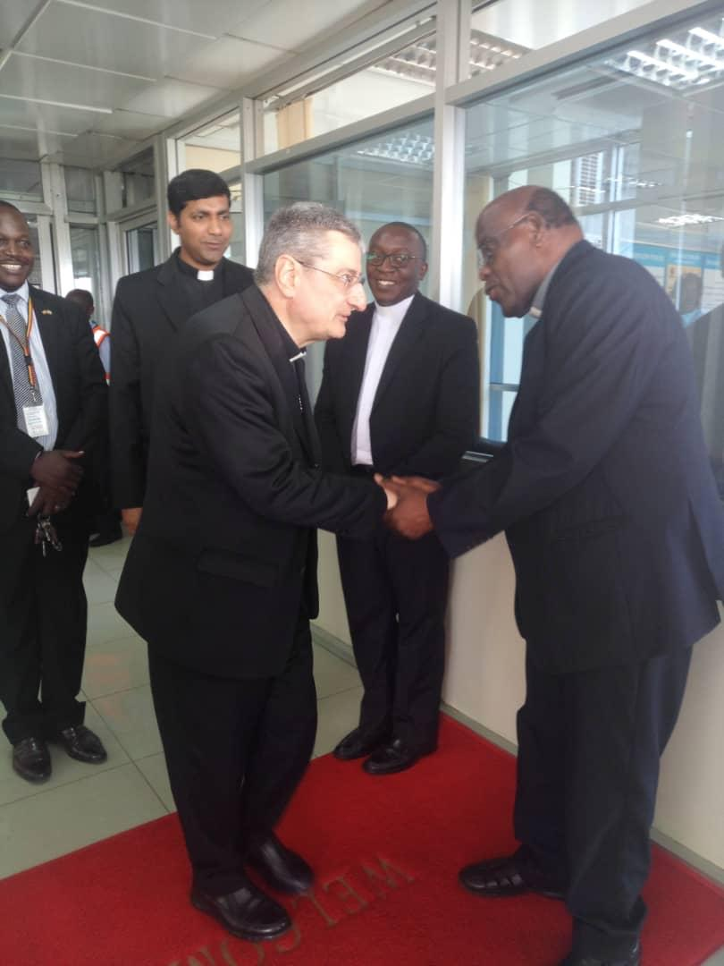 The Apostolic Nuncio to Uganda, H. E. Luigi Bianca, has arrived in Uganda.  He has been received at the Entebbe International Airport by His Secretary- Msgr D'Souza Alfred, the Chairman of The Conference - Rt Rev J A Zziwa, the Archbishop of Kampala , His Grace C K Lwanga, the Secretary General of UEC - Msgr John B Kauta.