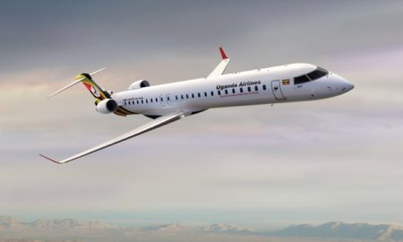 CRJ900 in Uganda Airlines Livery The first CRJ fitted with the ATMOSPHÈRE cabin in Africa
