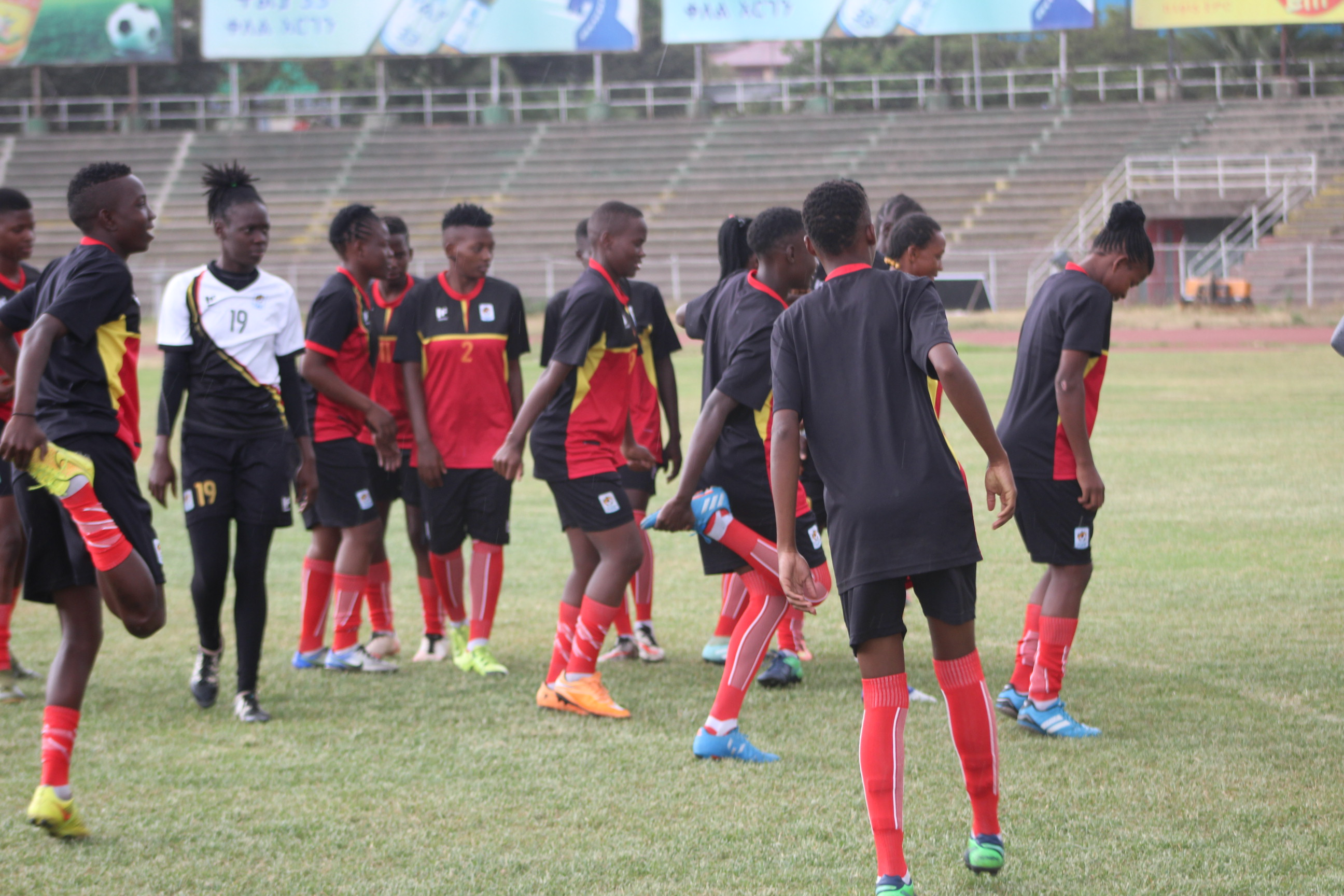 Crested Cranes players warming up at the National stadium in Addis Ababa before the skies went loose with heavy rains. (FUFA Photos)
