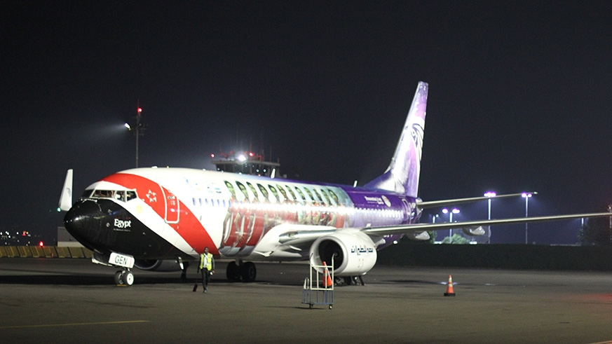 Egypt's national carrier EgyptAir touched down at Kigali International Airport at 3:30am on Sunday. Courtesy photos.