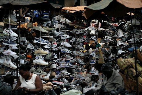 Some of the traders display thier shoes in Kikooza Market in Mukono. Businesspersons in Mukono have decried the hiked URA taxes slapped on them (FILE PHOTO)