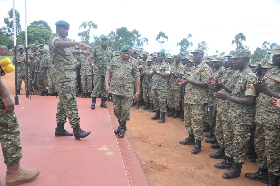 The Chief of Defence Forces UPDF, Gen. David Muhoozi briefed Battle Group 27ahead of their flag-off at the Peace Support Operations Training Centre in Singo, Nakaseke District. (PHOT/PHOTO)