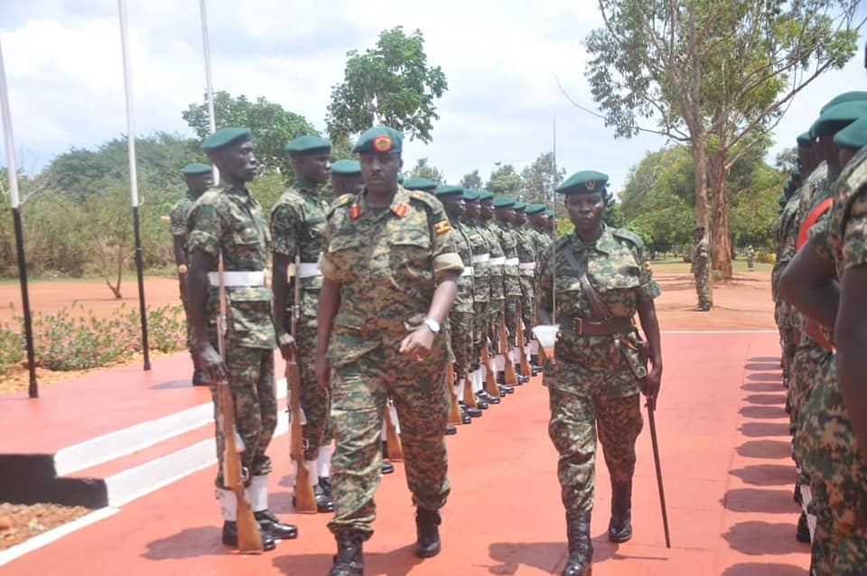 The Chief of Defence Forces UPDF, Gen. David Muhoozi cautions the Battle Group 27ahead of their flag-off at the Peace Support Operations Training Centre in Singo, Nakaseke District (PML PHOTO)
