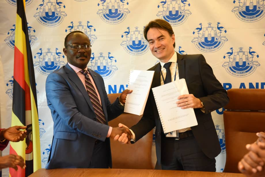 Eng Phillipe Vullien, the Project technical supervisor and the NWSC MD Dr. Eng Silver Mugisha