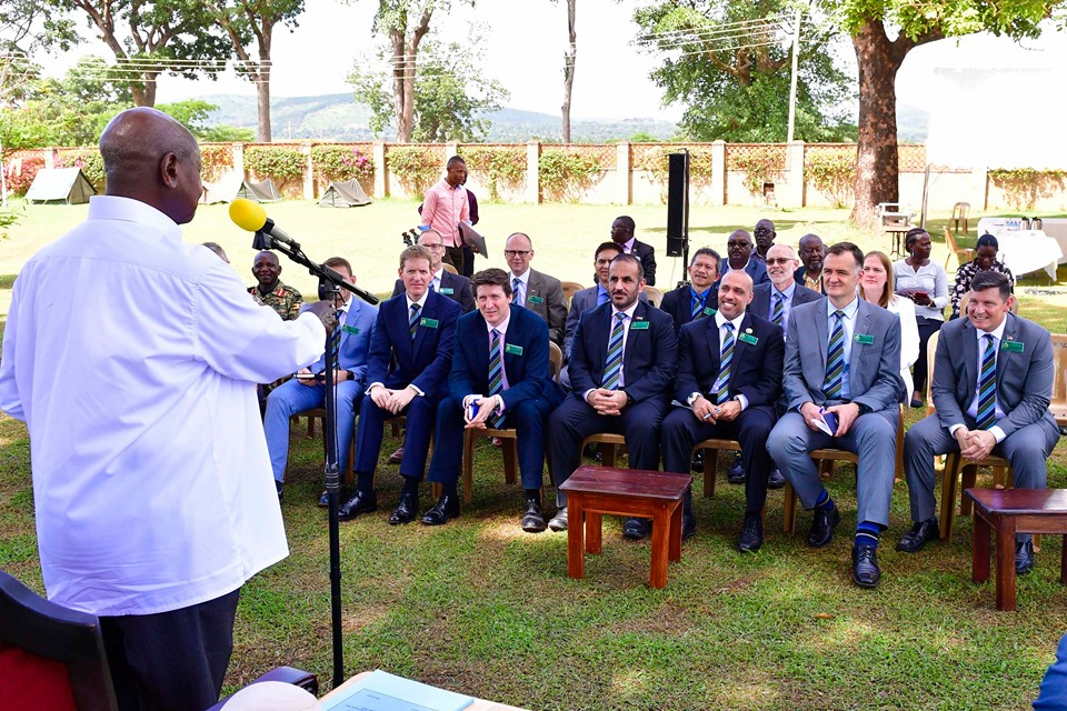 session with trainees of the Royal Defence College in the United Kingdom, at State lodge Masindi.