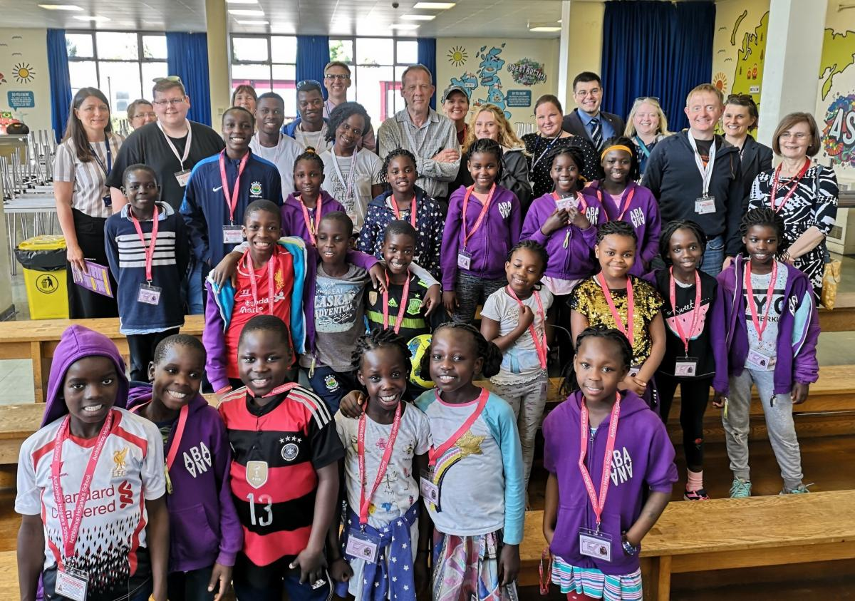 Children from the Ugandan charity choir made new friends and took part in a series of activities throughout their visit to Archbishop Holgate's School, which they had previously visited in 2017