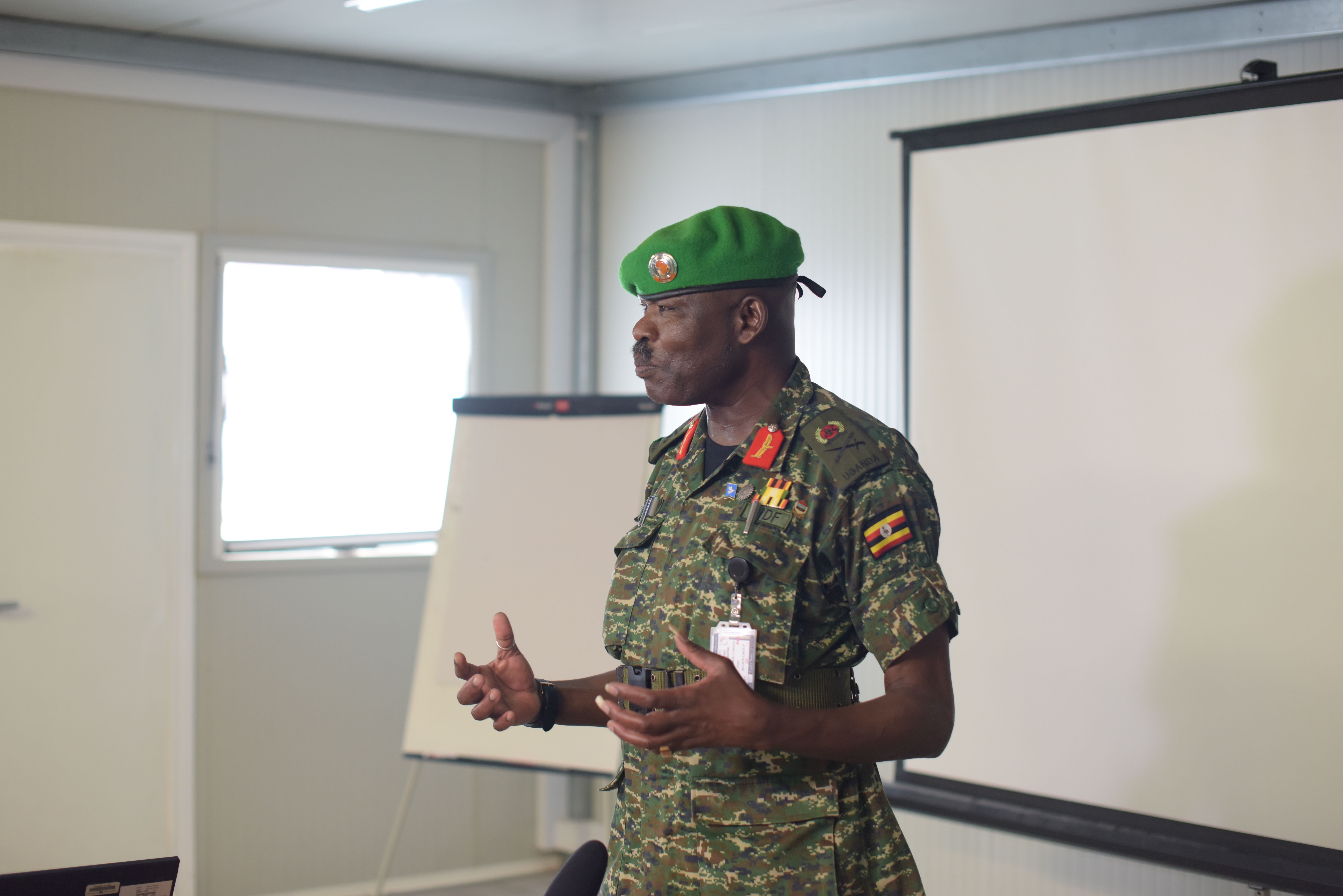 Lt. Gen. James Nakibus Lakara, the AMISOM Deputy Force Commander in charge of Operations and Plans,  addresses newly deployed military officers serving under the African Union Mission in Somalia (AMISOM), during the opening session of an induction training held in Mogadishu, Somalia on 4 May 2019. AMISOM Photo / Omar Abdisalan