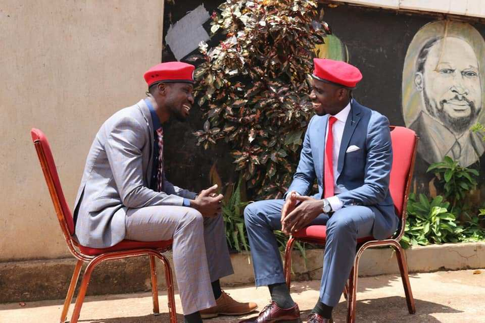 Mr. Joel Ssenyonyi and People Power leader Bobi Wine. The group says President Museveni is grappled by fear of People Power. (PHOTO/File)