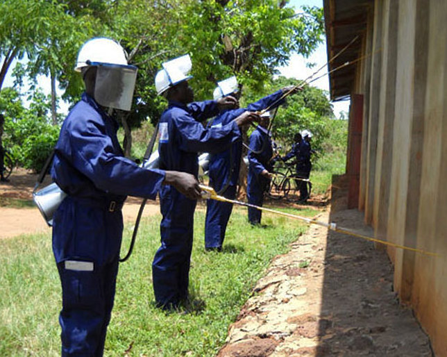 Fumigators spray a building. The community of Kisoko sub-county in Tororo district on Saturday, April 27, to it in their handles and facilitated the fumigation Kisoko government prisons (FILE PHOTO)