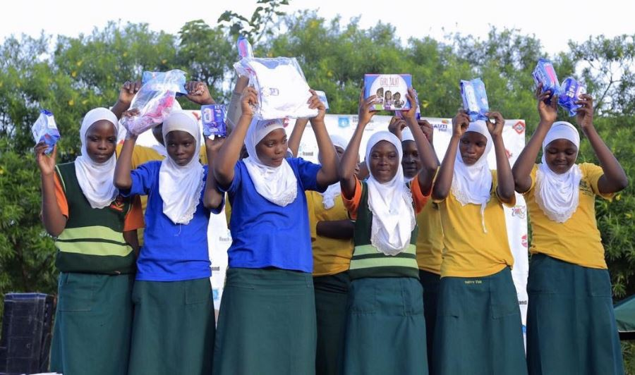 Girls packed with menstruation materials