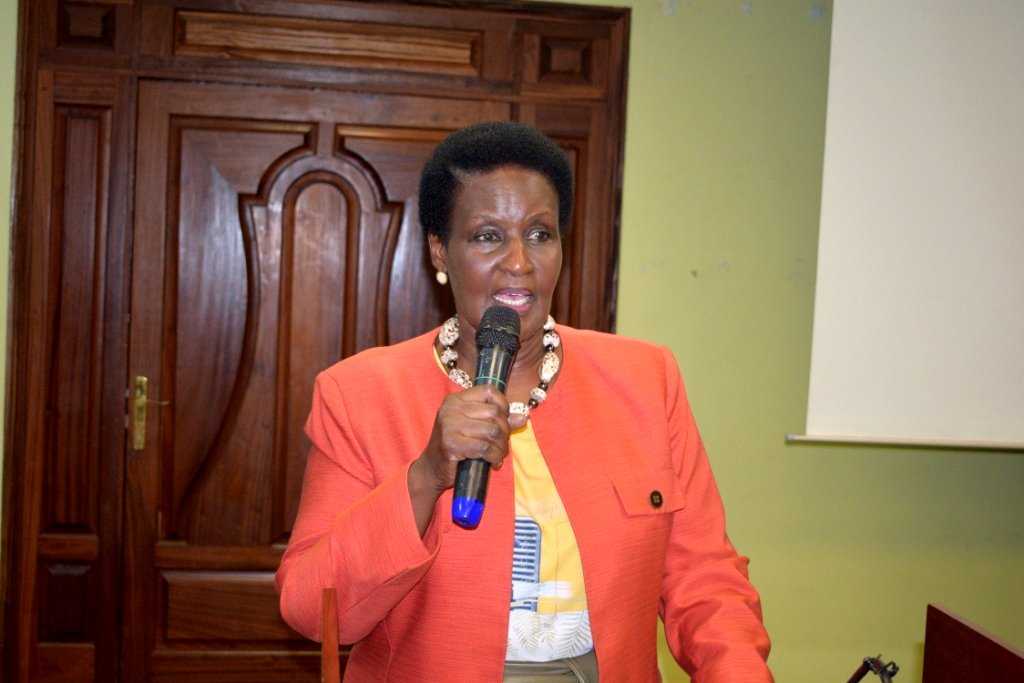 Minister of Trade, Industry and Cooperatives Hon. Amelia Kyambadde gives the official remarks recently. (PHOTO/File)