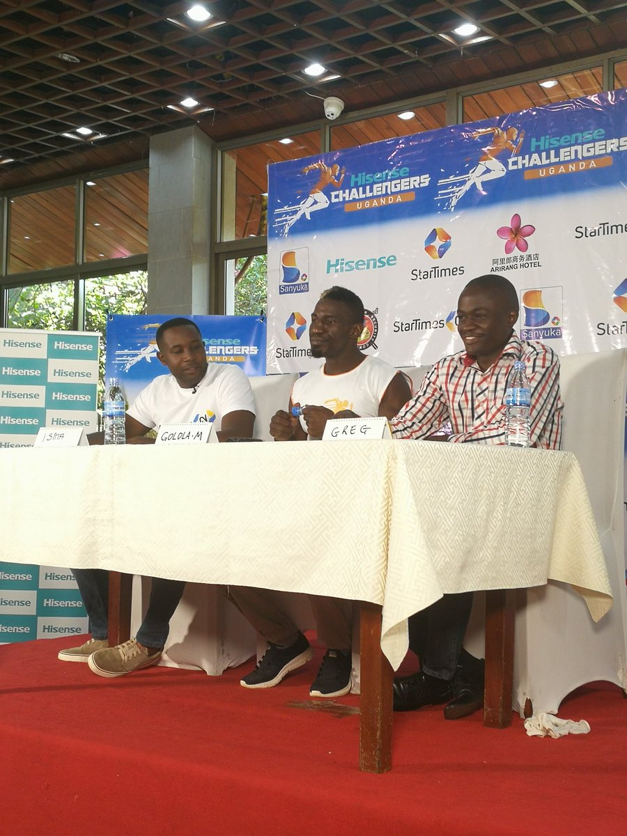 Golola (Center) at his unveiling as the official StarTimes Challenger host on Thursday. (PHOTOS/SHABAN LUBEGA)