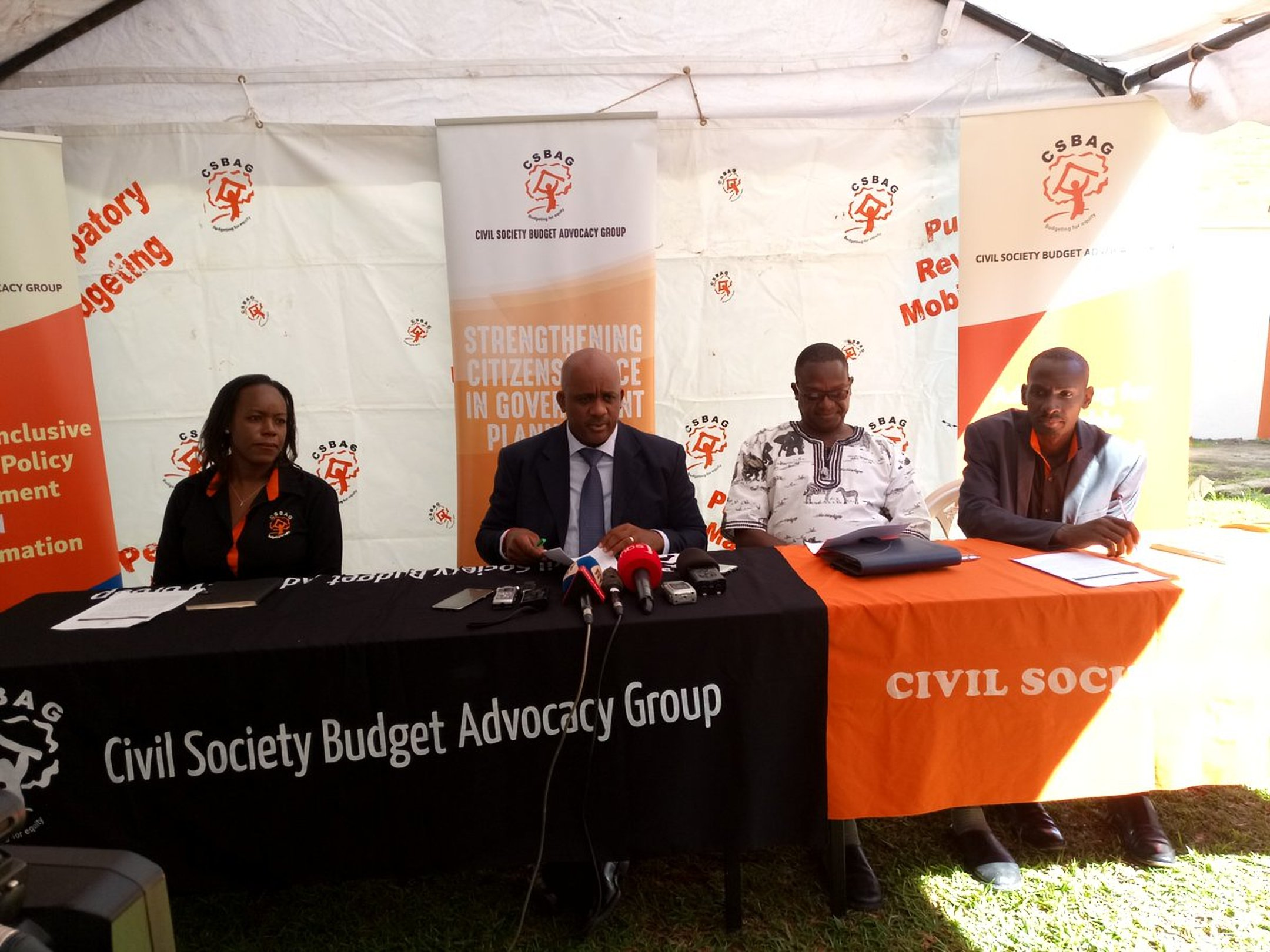Civil Society Budgeting Advocacy Group (CSBAG) officials hold a press conference recently (PHOTO/File)