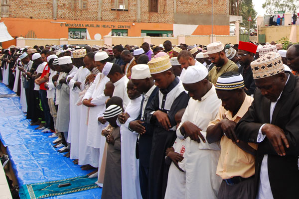 Muslims having Friday prayers