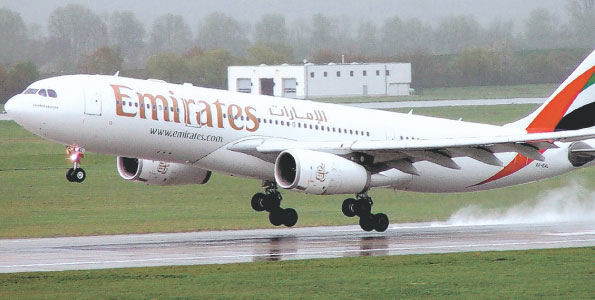 An Emirates flight takes-off at the airport (PHOTO/File)